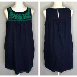 J. Crew Navy Linen Peasant Dress Green Embroidery